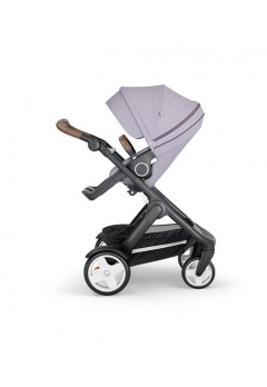Stokke® Trailz™ Black με κλασσικούς τροχούς w/brown leatherette image Brushed Lilac