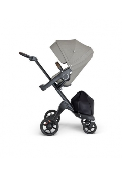 Stokke® Xplory® V6 Black Chassis w/brown leatherette image Brushed Grey