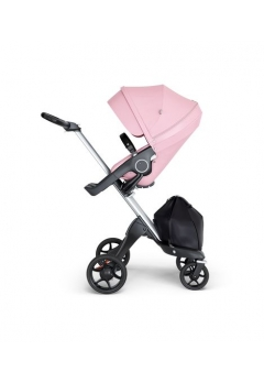 Stokke® Xplory® V6 Silver Chassis w/black leatherette image Lotus Pink