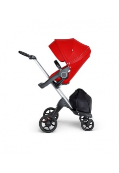 Stokke® Xplory® V6 Silver Chassis w/black leatherette image Red