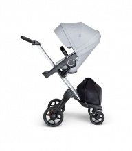 Stokke® Xplory® V6 Silver Chassis w/black leatherette