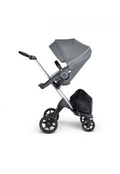 Stokke® Xplory® V6 Silver Chassis w/black leatherette image Athleisure Green