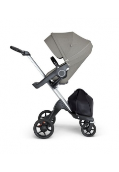 Stokke® Xplory® V6 Silver Chassis w/black leatherette image Brushed Grey