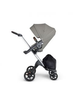 Stokke® Xplory® V6 Silver Chassis w/brown leatherette image Brushed Grey